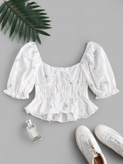 Broderie Anglaise Floral Puff Sleeve Milkmaid Peplum Blouse - White M
