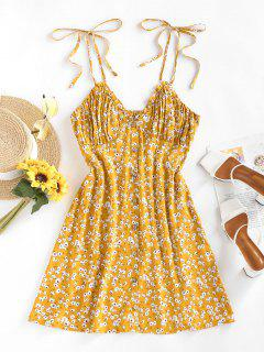 ZAFUL Floral Tie Strap Ruched Smocked Sundress - Deep Yellow M