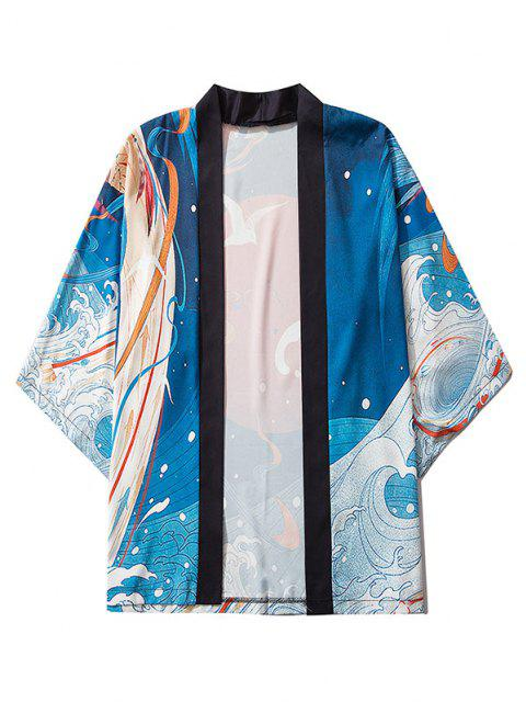 ladies Sea Waves Red Sun Print Oriental Kimono Cardigan - BLUEBERRY BLUE L Mobile