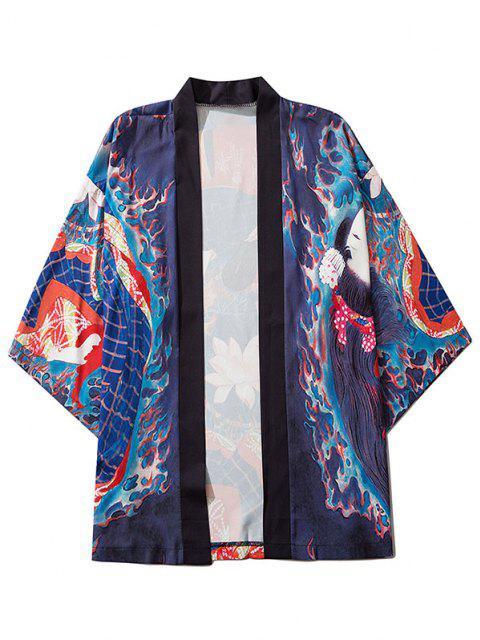 Geisha Lotus Blume Open Kimono Cardigan - Kobaltblau M Mobile