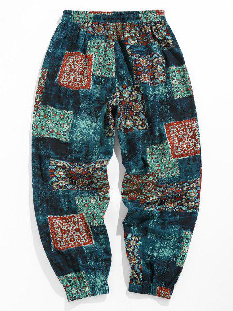 best ZAFUL Bohemian Scarf Print Casual Pants - DEEP BLUE XXL Mobile
