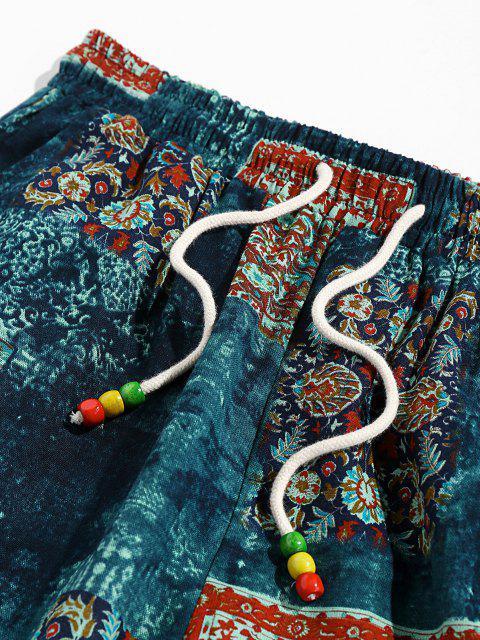 latest ZAFUL Bohemian Scarf Print Casual Pants - DEEP BLUE S Mobile