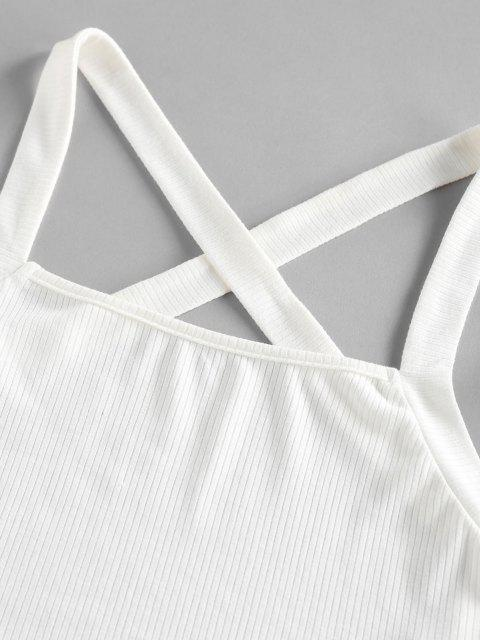 affordable ZAFUL Ribbed Criss Cross Backless Crop Tank Top - WHITE M Mobile