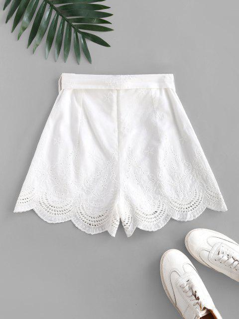 lady Broderie Anglaise Belted Scalloped Embroidery Shorts - WHITE M Mobile