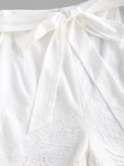 Short Festonné Ceinturé Broderie Anglaise - Blanc L Mobile