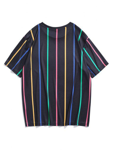 fashion Short Sleeve Colorful Stripe T-shirt - BLACK XL Mobile