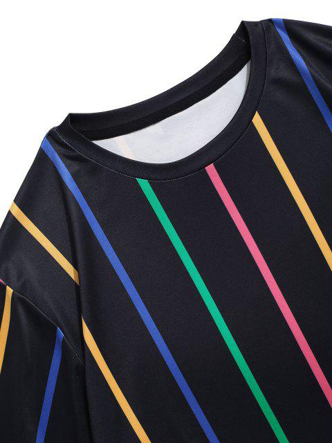 T-shirt a Righe Colorate con Maniche Corte - Nero XL Mobile