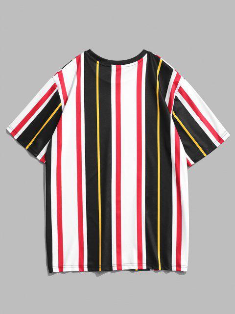 Kurzarm Kontrast Streifen T-Shirt - Weiß L Mobile