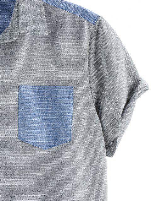 online Narrow Stripe Half and Half Pocket Short Sleeve Shirt - MULTI L Mobile