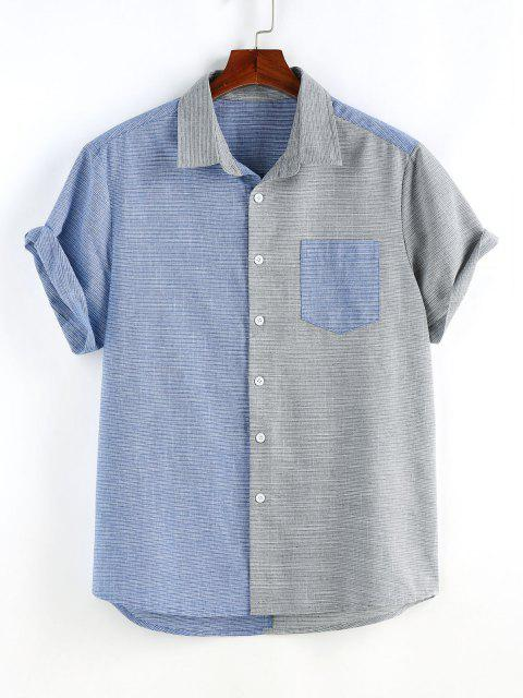 Narrow Stripe Half and Half Pocket Short Sleeve Shirt - متعدد L Mobile