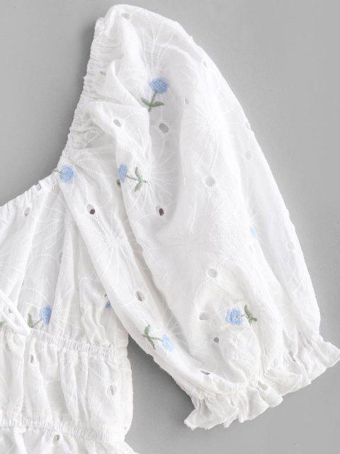 Broderie Anglaise Blumen Puff Ärmel Milkmaid Peplum Bluse - Weiß M Mobile