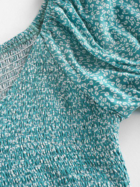 latest ZAFUL Ditsy Print Smocked Puff Sleeve Peplum Blouse - LIGHT GREEN M Mobile