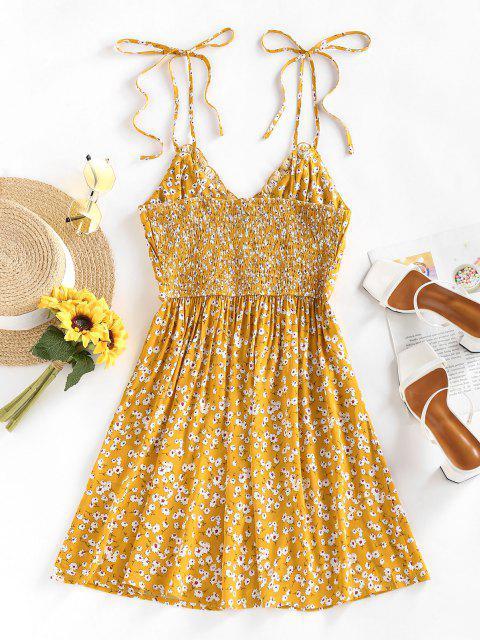 ZAFUL Gebundenes Blumen Geraffte Kittel Sommerkleid - Dunkel gelb M Mobile