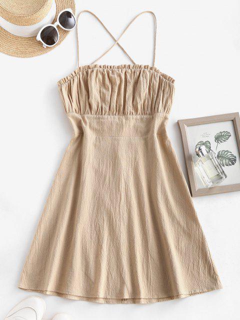 ZAFUL Schnür Mini Kleid mit Offenem Rücken - Licht Kaffee XL Mobile