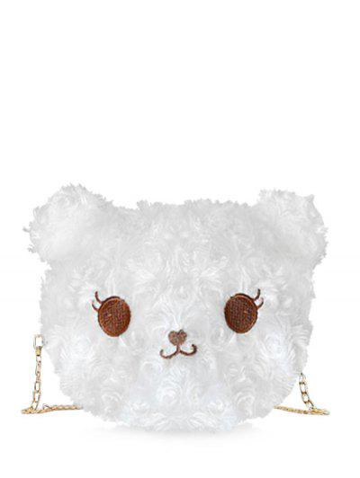 Fluffy Cartoon Animal Chain Crossbody Bag - Milk White
