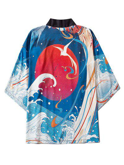 Sea Waves Red Sun Print Oriental Kimono Cardigan - Blueberry Blue M