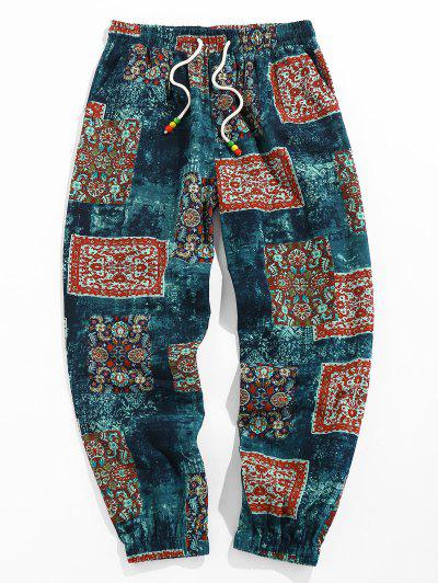 ZAFUL Bohemian Scarf Print Casual Pants - Deep Blue L