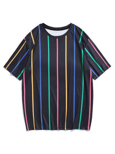Short Sleeve Colorful Stripe T-shirt - Black L