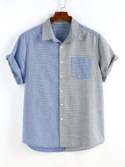 Narrow Stripe Half And Half Pocket Short Sleeve Shirt - Multi L