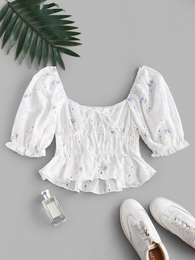 Broderie Anglaise Floral Puff Sleeve Milkmaid Peplum Blouse - White S