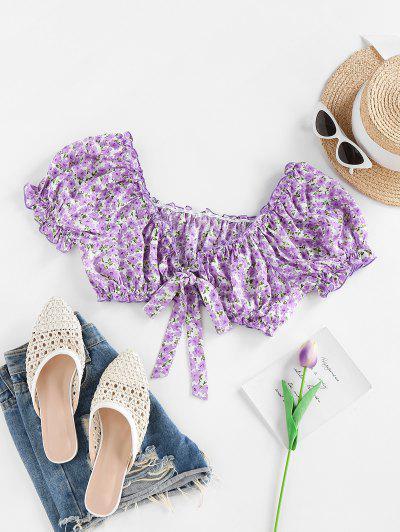 ZAFUL Ditsy Print Ruffle Tie Front Crop Blouse - Light Purple S