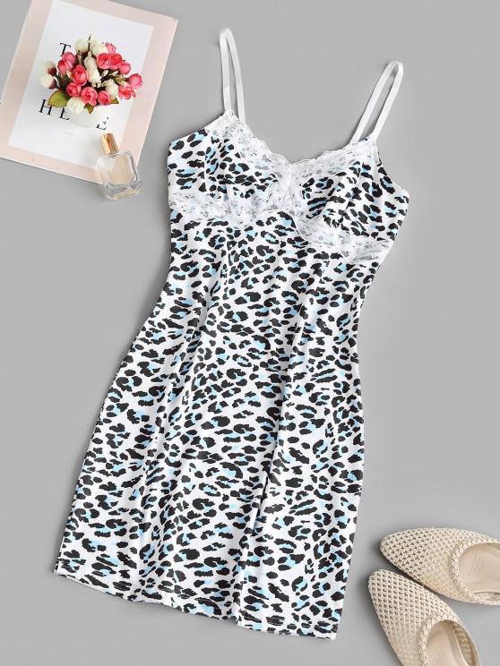shops Lace Trim Leopard Cami Bodycon Dress - MULTI M