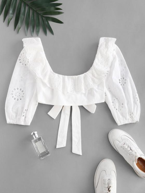 Broderie Anglaise Ruffle Crop Knot Blouse - أبيض S