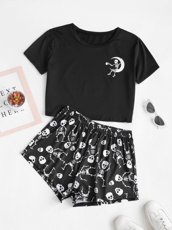 ladies Lounge Skull Moon Print Holloween Two Piece Set - BLACK M