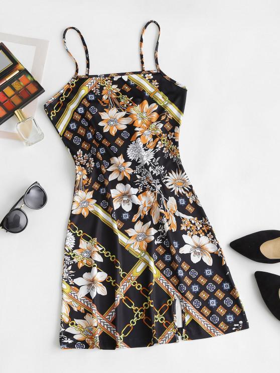 Vestido Ceñido con Estampado Floral con Abertura Frontal - Negro M