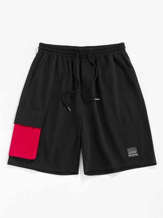 women's ZAFUL Colorblock Pocket Patched Sweatshorts - BLACK XL