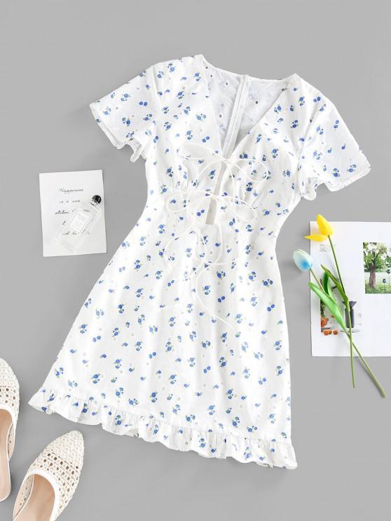 fashion ZAFUL Flower Print Eyelet Tie Front Ruffle Dress - WHITE M