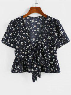 ZAFUL Floral Bowknot Tie Peplum Blouse - Black M