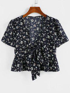 ZAFUL Floral Bowknot Tie Peplum Blouse - Black L