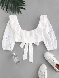 Broderie Anglaise Ruffle Crop Knot Blouse - White S