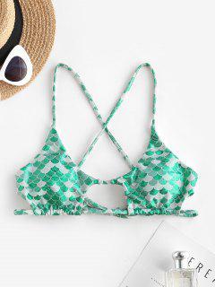 ZAFUL Metallic Cutout Crisscross Mermaid Bikini Top - Deep Green S