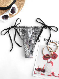 ZAFUL Metallic Snakeskin Tie Side Loincloth Bikini Bottom - Silver M