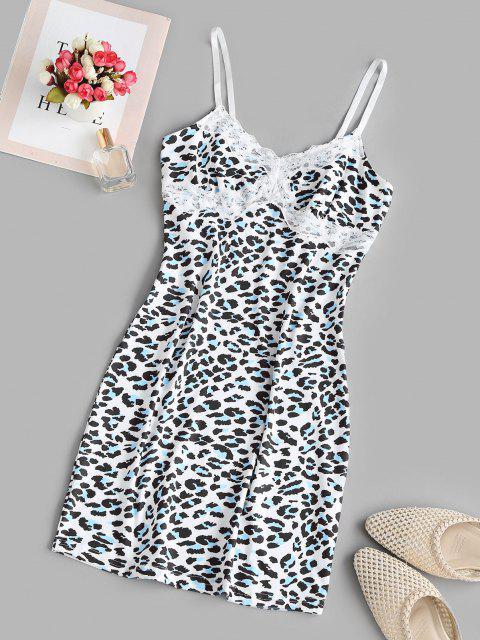 shops Lace Trim Leopard Cami Bodycon Dress - MULTI M Mobile