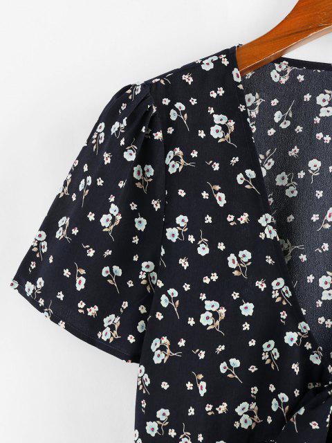 shops ZAFUL Floral Bowknot Tie Peplum Blouse - BLACK S Mobile