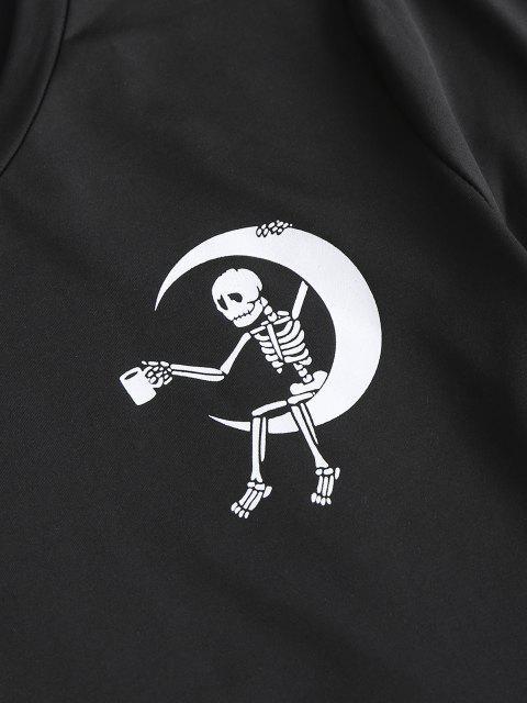 Ensemble Nikini Irrégulier Long Imprimé Crâne et Lune Imperméable Deux Pièces - Noir S Mobile