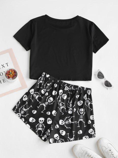women's Lounge Skull Moon Print Holloween Two Piece Set - BLACK S Mobile