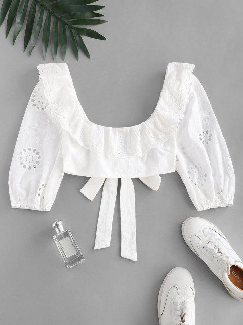ladies Broderie Anglaise Ruffle Crop Knot Blouse - WHITE S Mobile