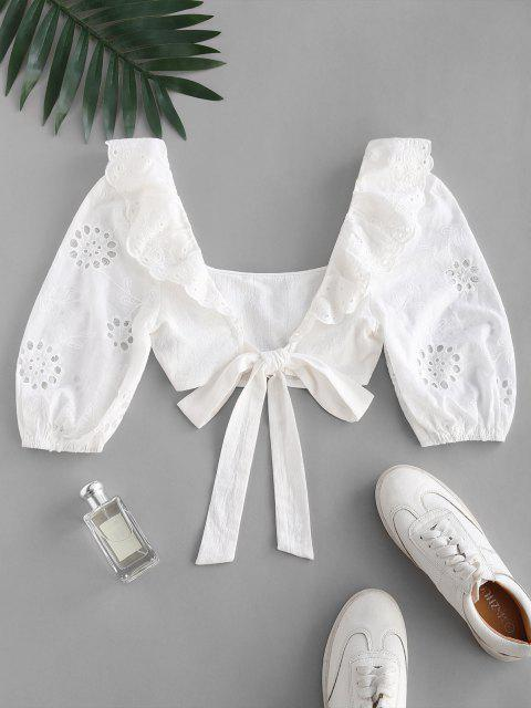 online Broderie Anglaise Ruffle Crop Knot Blouse - WHITE XL Mobile
