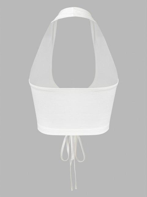 buy ZAFUL Halter Tie Front Crop Tank Top - WHITE L Mobile