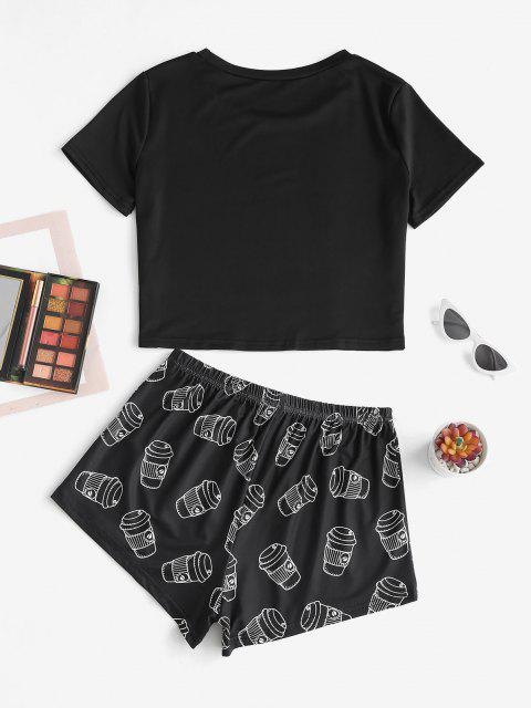 latest Lounge Letter Coffee Two Piece Set - BLACK XL Mobile