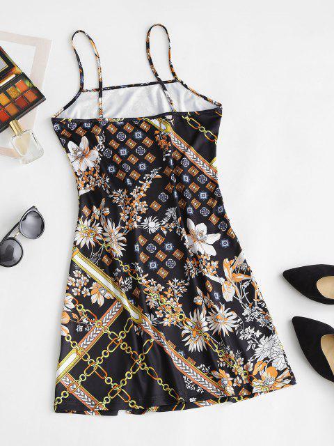 Bodycon Cami Kleid mit Schlitz und Blumenmuster - Schwarz M Mobile