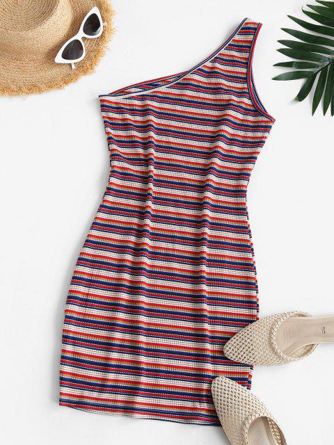 womens ZAFUL One Shoulder Striped Bodycon Dress - RED M Mobile