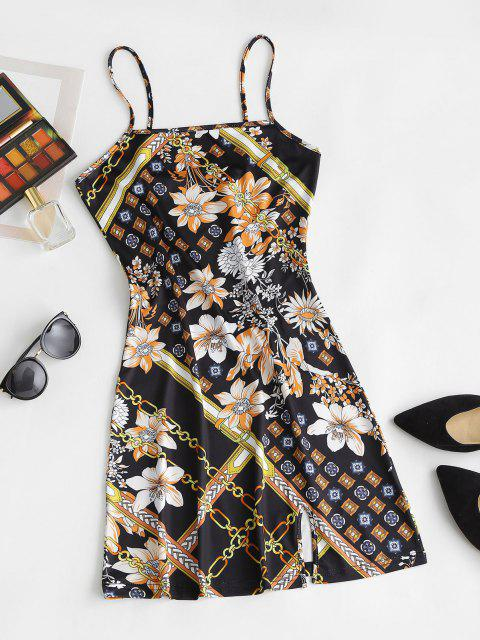 lady Floral Printed Front Slit Cami Bodycon Dress - BLACK XL Mobile