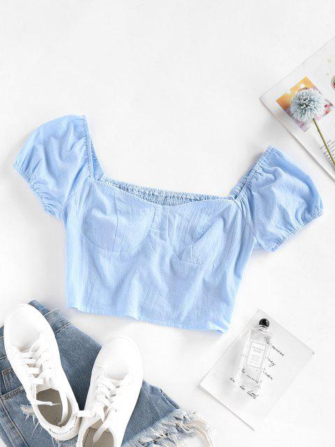 lady ZAFUL Smocked Puff Sleeve Crop Blouse - LIGHT BLUE L Mobile