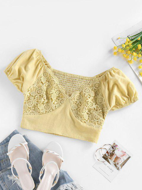 trendy ZAFUL Guipure Lace Smocked Puff Sleeve Crop Blouse - YELLOW XL Mobile