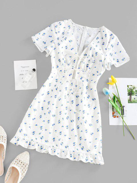 ZAFUL Gebundenes Blumendruck Öse Rüschenkleid - Weiß S Mobile